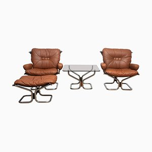 Wing Series Lounge Set in Leather & Steel by Harald Relling for Westnofa Furniture, 1970s, Set of 4