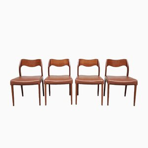 Mid-Century Danish Teak Model 71 Dining Chairs by Niels Moller, Set of 4