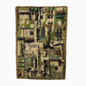 Vintage Shaggy Green Carpet in Cotton and Wool