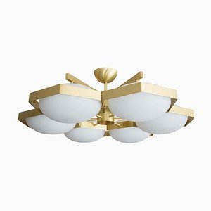Brass and White Murano Glass Beehive Flush Mount Ceiling Lamp, 2009