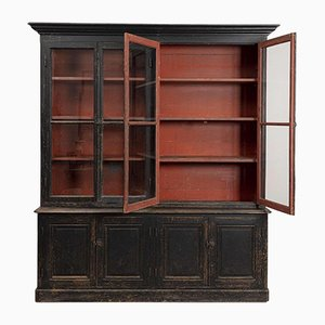 Late-19th Century French Painted Breakfront Bookcase