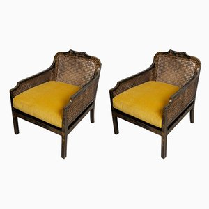 English Chinoiserie Chairs with Rattan Sides, 1920s, Set of 2