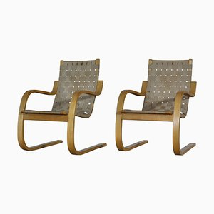 Scandinavian Modern Birch Model 406 Lounge Chairs by Alvar Aalto for Artek, 1960s, Set of 2