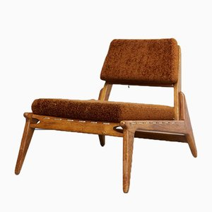 German Oak Hunting Chair & Ottoman from VEB Hellerau