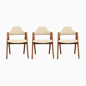 Vintage Danish Teak Compass Chairs by Kai Kristiansen for SVA Møbler, Set of 3