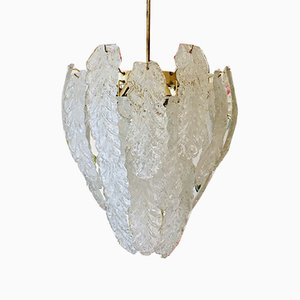 Murano Ice Leaf Ceiling Lamp from Mazzega, 1974