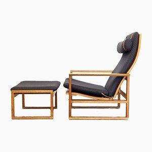 2254 Sessel & 2248 Fußhocker von Børge Mogensen für Fredericia, 1950er, 2er Set