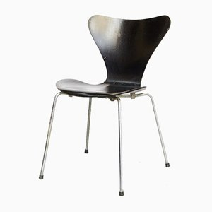 Danish Metal and Veneer Side Chairs by Arne Jacobsen for Fritz Hansen, 1960s, Set of 4