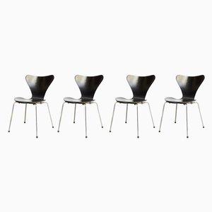 Dänische Metall und Furnier Beistellstühle von Arne Jacobsen für Fritz Hansen, 1960er, 4er Set