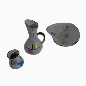 Keramik Vasen & Schale von Bodo Mans für Bay Keramik, 1950er, 3er Set