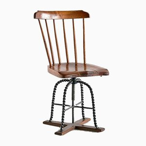 Spindle Back Swivel Desk Chair in Elm and Turned Wrought Iron, Sweden, 1920s