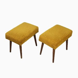 Mid-Century Yellow Tabouret Stools, Set of 2