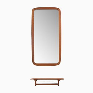 Teak Mirror with Organic Shaped Teak Console from JM, 1960s