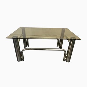 Steel & Gray Smoked Glass Coffee Table, 1970s