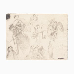Study of Figures - Original Pencil Drawing by Marcel Mangin - 20th Century 1950 ca.