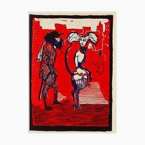 Figures - Original Woodcut by Mino Maccari - Mid 20th Century
