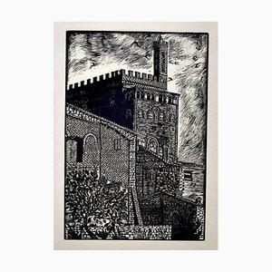Assisi Castle - Original Woodcut by Bruno da Osimo - 20th Century