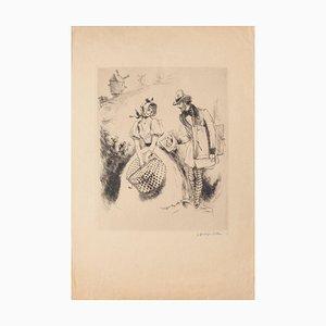 Offering - Original Radierung auf Papier von Georges Villa - 1940 ca.