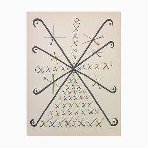 Letter X - Original Lithograph by Rafael Alberti - 1972