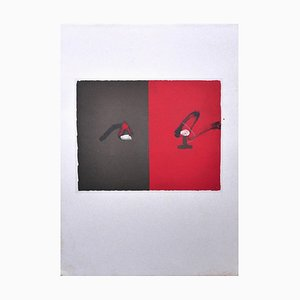 Red and Black - Vintage Offset Print After Antoni Tàpies - 1982