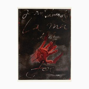 Hand of Fire - Vintage Offset Print After Antoni Tàpies - 1982