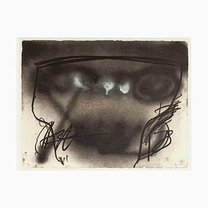 Vase Space - Vintage Offset Print After Antoni Tàpies - 1982