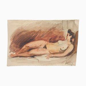 Akt - Original Aquarell auf Papier von Jean Delpech - 1942