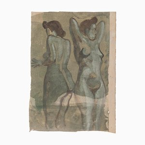 Akt - Original Aquarell auf Papier von Jean Delpech - 1960er