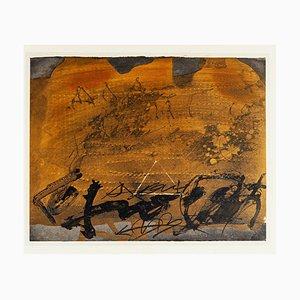 Graffiti und Dreieck - Vintage Offsetdruck nach Antoni Tàpies - 1982