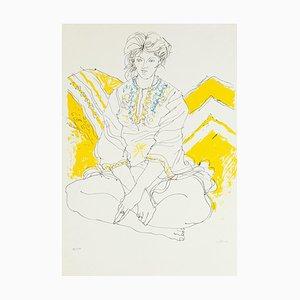 Seated Woman - Original Lithograph by Sergio Barletta - 1980's
