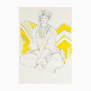 Seated Woman - Original Lithographie von Sergio Barletta - 1980's