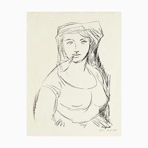 Woman - Original Lithographie von Domenico Purificato - 1950er