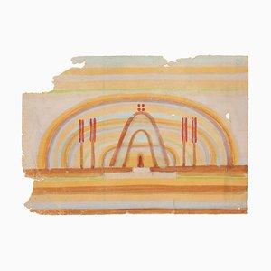 composizione urrealist - Acquarello originale su carta di Jean Delpech - anni '60