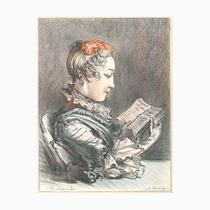 Woman with Book - Original Lithograph by G.W. Thornley - Early 1900