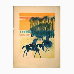 Horses in the Sun - Original Lithograph by Paul Guiramand - Mid 1900