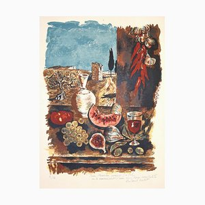 Still Life with Blue Sky - Original Lithograph by Roland Oudot 1950