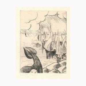 Ships - Original Etching by Jean Bondal 2000s