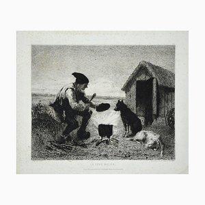Le Père Malice - Original Etching by J.J. Veyrassat - 1870s