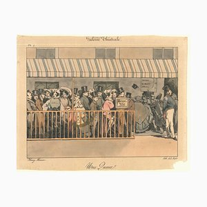 Une Queue - Original Lithographie von Henry Monnier - 1850er