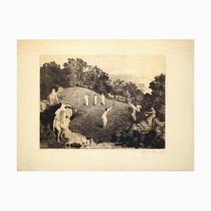 Figuren in der Landschaft - Original Radierung von JA Flour - 1916