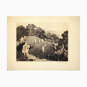 Figures in the Landscape - Original Etching by J. A. Flour - 1916
