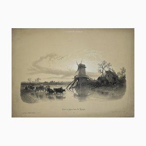 Etudes de Figures dans les Paysages - Original Lithographie von François Ferogio, 1850er