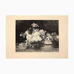Vase de Fleurs - Gravure à l'Eau-Forte originale par Louis Lemaire - 1870s 1870s