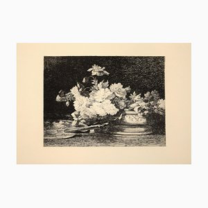 Vase de Fleurs - Original Etching by Louis Lemaire - 1870s