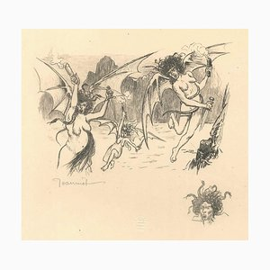 Les Harpies - The Harpies - Original Lithograph by P.-G. Jeanniot End of 1800
