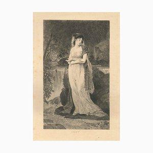 Acquaforte Ophelia - Incisione originale di Jules Simon Payrau - Fine XIX secolo Fine XIX secolo