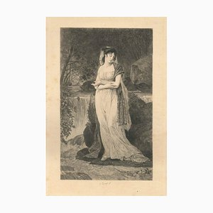 Ophelia - Original Etching by Jules Simon Payrau - Late 19th Century End of 1800