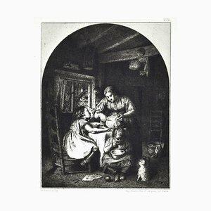 Les Repas des Enfants - Original Etching by Edward Davis - 1862