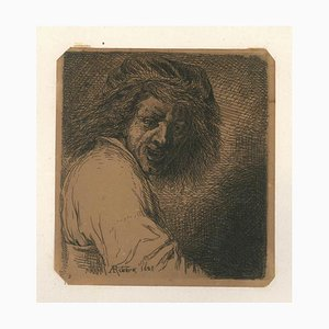 Rienz, inspiré de Ribera - b/w Etching by Charles Jacque - 1868