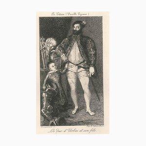 Le Duc d'Urbin - Original Radierung auf Papier aus China Nach Tiziano Vecellio 1870